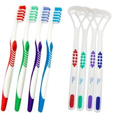 4 Toothbrushes & 4 Tongue Scrapers ~ Family Bulk Pack 4 Colours, Brush & Clean