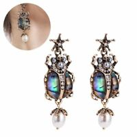 Trendy Retro Alloy Star Insect Skull Pearl Drop Earrings Rare Jewelry for Women~