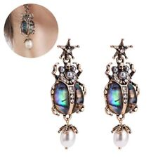 Trendy Retro Alloy Star Insect Skull Pearl Drop Earrings Rare Jewelry for Women