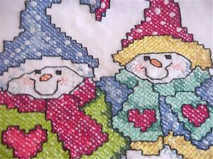 "Hand Embroidered Christmas Theme Snowman 19 by 33"" for Pillow Cover or Towel WOW"