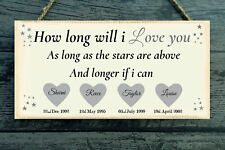 How Long Will I Love You Personalised Names Wood Plaque  Gift Sign Present