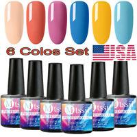 6 Bottles MTSSII 8ml Yellow Pink Blue Color UV Soak Off Gel Nail Polish Set US