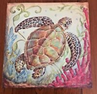 "Sea Turtle by Kate McRostie Stretched Canvas on Wood Frame 14"" x 14"" Signed"