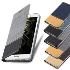 Wallet Case for Huawei Book Cover Jeans Look Flip Etui Stand