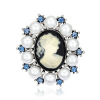 Females' Vintage Blue Rhinestone White Pearl Victorian Cameo Brooch Pin Jewelry