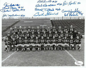 1956 PACKERS Bart Starr ROOKIE YEAR team signed 8x10 photo JSA COA 11 AUTOS