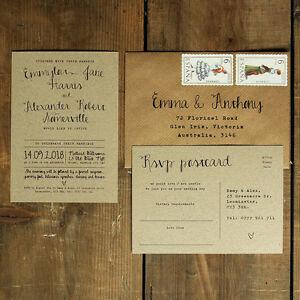 Personalised Calligraphy Kraft Wedding Invitation- Rustic Vintage invites