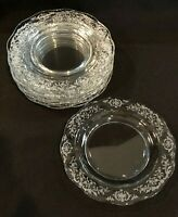 """FOSTORIA NAVARRE Bread & Butter Plates Set of 8 Clear Etched Vintage 6 1/4"""""""