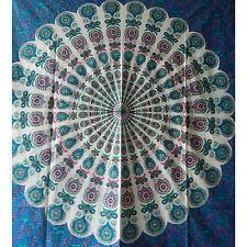 Couverture indienne Tenture Paon Mandala Bleu 230x200 cm
