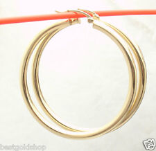 "3mm X 45mm 1 3/4"" Large Plain Shiny Hoop Earrings Real 14k Yellow Gold"