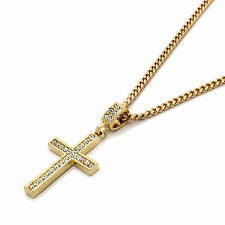 "Mens 14k Gold Plated Cz Lined Cross Pendant With 30"" inches Cuban Necklace Chain"