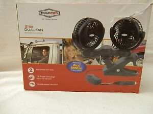New RoadPro RPSC8572  12-Volt Dual Fan With Mounting Clip and Variable Speed