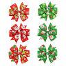 6Pcs Girl Christmas Holiday Gift Snowflake Ribbon Hair Bows Clip Girl Hairp R8Y