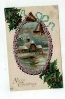 1909 Antique embossed Schwerdtfeger Christmas Post Card Violets Holly Bell House