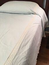 VTG Bedspread Friesel of Philadelphia Twin Blue Swiss Dots Lace Summer Cotton