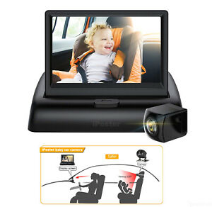 """Baby Monitor Car Mirror Camera View Infant in Rear Facing Seat 4.3"""" Screen HD"""