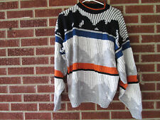 Vintage 80s 90s Sweater Size Large L Extra Large Xl Crewneck Abstract Orange