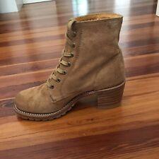 Frye Womens Sabrina Lace Up Beige Brown Caramel Tan Fashion Hiking Boots Sz 6