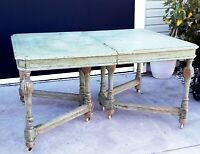 Antique Kitchen Dining Table Sage Green Wood Farmhouse Rustic Shabby Chic