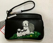 Old English sheepdog hand painted leather wristlet w/ touch screen friendly