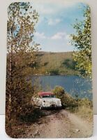 Finger Lakes Region New York Scenic Country Road 1950s Car Postcard D15