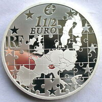 France 2004 Puzzle Map of European Silver Coin,Proof