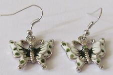 Green and white butterfly pendant earrings (pierced)