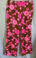 VTG 60's Authentic Mod Hippie Floral Print Pants Size Medium Slacks Neon Pink