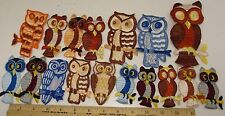 Owls Patches Appliques Embroidered 17 piece Lot US Made Vintage Owl NOS  New