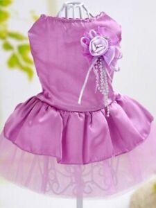 New Gift Girl Dog Tutu Wedding Princess Party Purple Flower Dress Set Size M