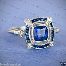 Certified 2.00ct Sapphire Blue Cushion Cut Art Deco Engagement 14K Gold Ring