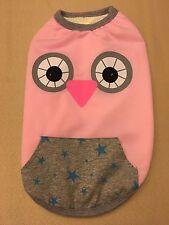 Dog Winter Fleece Jacket Owl Pattern Pink - Medium