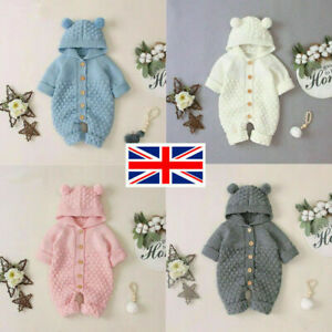 Newborn Baby Boy Girl Cute Romper Jumpsuit Outfit Knitted Hooded Sweater Clothes