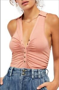 Free People Coco Solid Tank Top In Pink Cinnamon Size Large NEW & AUTHENTIC
