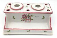 Vintage PIERRE DEUX France Porcelain Inkwell and Pen Pencil Holder Rare Pink