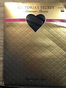 Victorias Secret Glamor Sheers Silky Stockings Large Jet Black Lace Band