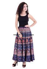 Elephant Mandala Indian Cotton Long Skirt Handmade Waist Skater Boho Blue Skirt