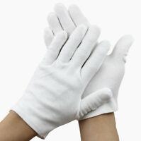 Pair White Coin Jewelry Inspection Gloves Cotton White Work Gloves Men Women EB