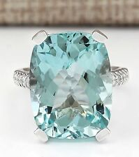 Women Elegant Jewelry 925 Silver Aquamarine Gemstone Wedding Engagement Ring
