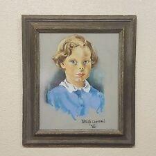 Vintage 1956 Framed Signed Chalk Pastel Portrait Drawing Child in Blue Shirt