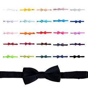 Kids / Boys Satin Clip-On Wedding Bow Tie - Various Colours