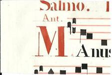 Manoscritto antico CAPOLETTERA M rosso ANTIFONARIO MUSICA 1850 ca. Drop Cap