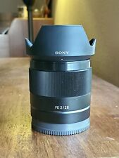 Sony SEL 28mm f/2 FE Lens - E-mount Full Frame with Hood and Caps