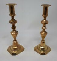 Antique Solid Brass Beehive Candlesticks 25.5 cms Tall