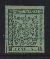 """Modena - 1852 c.5 verde striscia di 3, varietà """"e"""" coricata Cert. Diena lotto 62"""