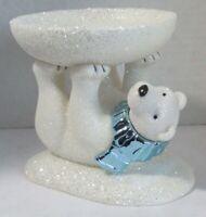 Bath & Body Works Large Candle Holder 3-Wick 14.5 oz WHITE GLITTER POLAR BEAR