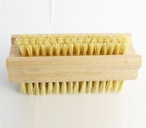 2 x Extra Stiff Wooden Nail Brush Double Sided Strong Tough Cactus Bristles