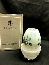 Fenton, Fairy Light, French Opalescent Glass, Hand ptd, signed, winter trees