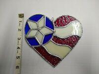 Handmade Stained Glass US Flag Heart Suncatcher Ornament