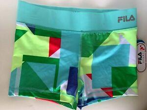 NEW! FILA [XS] Women PERFORMANCE Running Shorts-Geo/Aqua